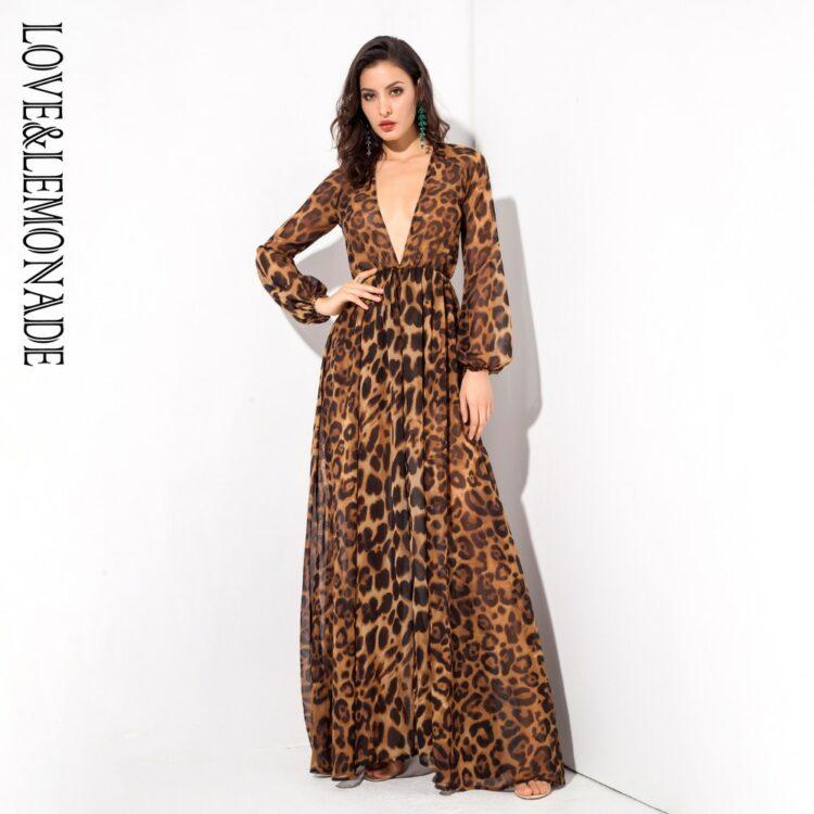 Sukienka maxi panterka brązowa z długim rękawem 1