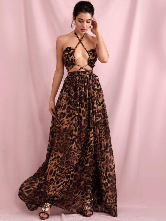 Maxi sukienka brązowa panterka z wycięciami na przodzie