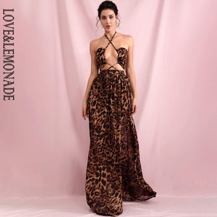 Maxi sukienka brązowa panterka z wycięciami na przodzie 1