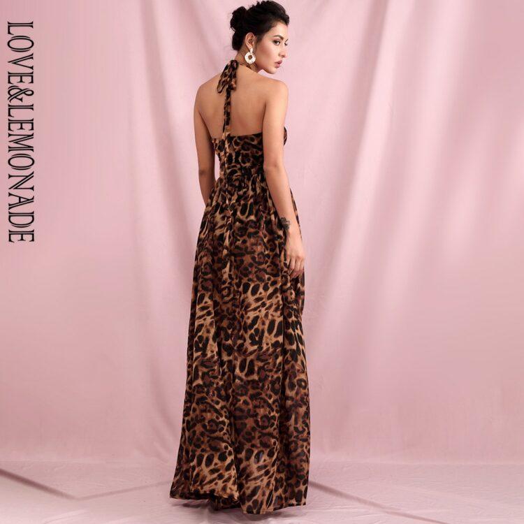 Maxi sukienka brązowa panterka z wycięciami na przodzie 2