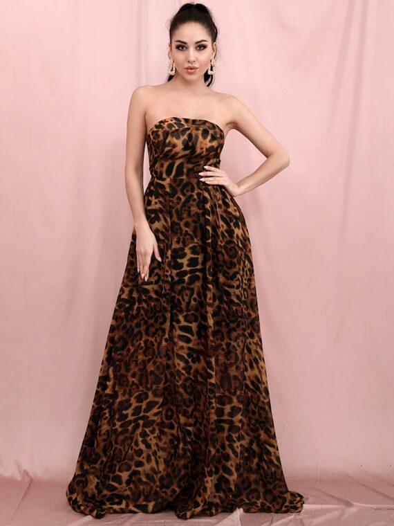 Długa brązowa sukienka panterka elegancka rozkloszowana