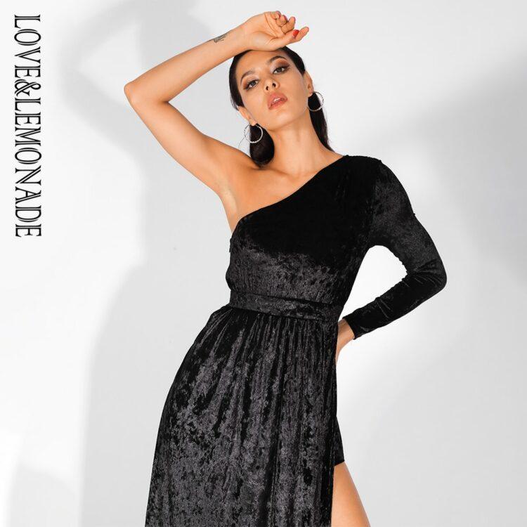 Aksamitna czarna sukienka maxi wieczorowa z rozcięciem 1
