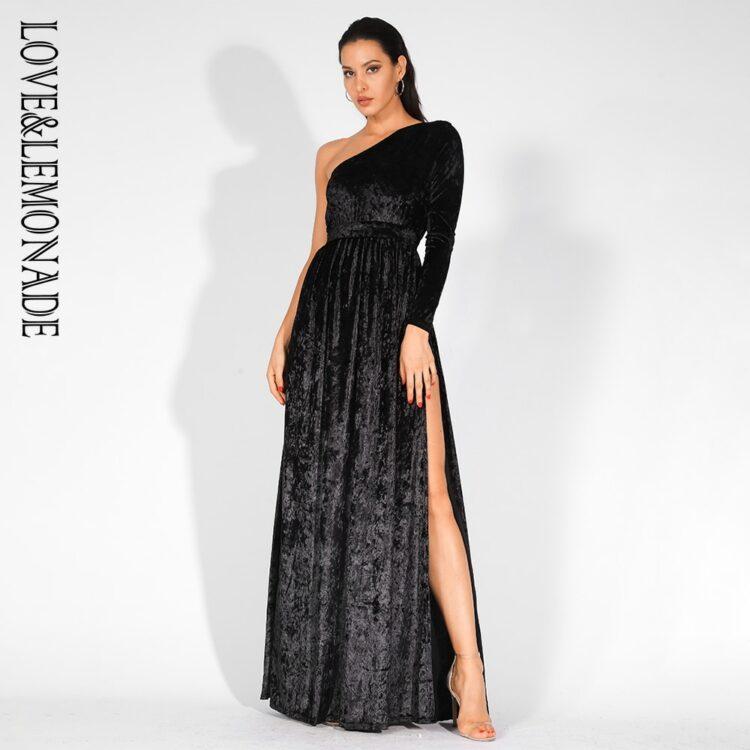 Aksamitna czarna sukienka maxi wieczorowa z rozcięciem 2