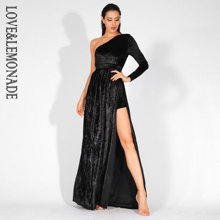 Aksamitna czarna sukienka maxi wieczorowa z rozcięciem