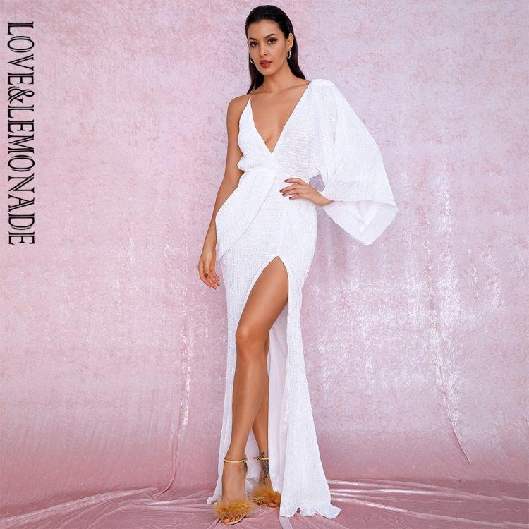 Asymetryczna sukienka wieczorowa biała z odkrytymi plecami 1