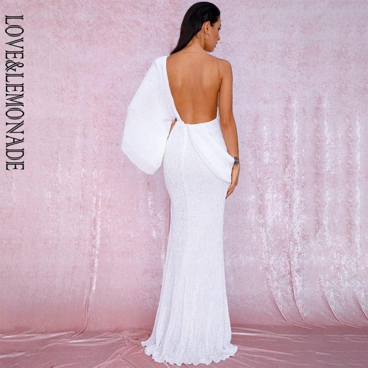 Asymetryczna sukienka wieczorowa biała z odkrytymi plecami 2