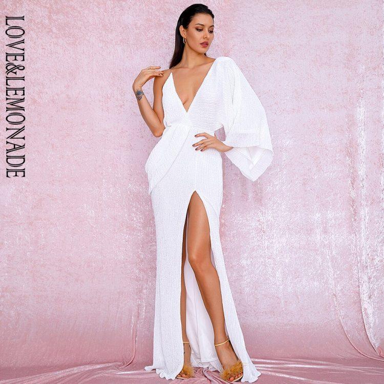 Asymetryczna sukienka wieczorowa biała z odkrytymi plecami