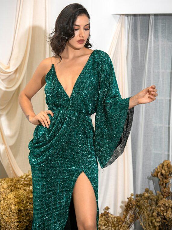 Asymetryczna sukienka wieczorowa butelkowa z odkrytymi plecami 1