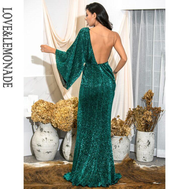 Asymetryczna sukienka wieczorowa butelkowa z odkrytymi plecami 2