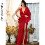 Asymetryczna sukienka wieczorowa czerwona z odkrytymi plecami 1