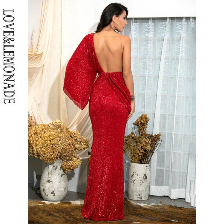 Asymetryczna sukienka wieczorowa czerwona z odkrytymi plecami 2