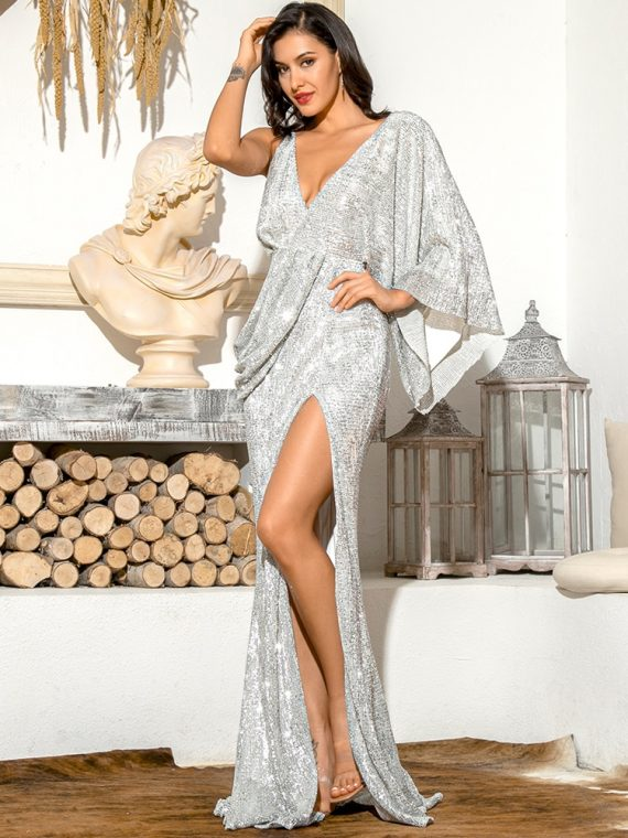 Asymetryczna sukienka wieczorowa srebrna z odkrytymi plecami 1