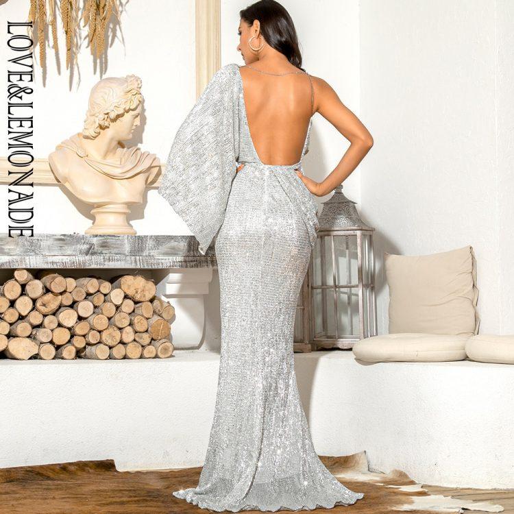 Asymetryczna sukienka wieczorowa srebrna z odkrytymi plecami 2