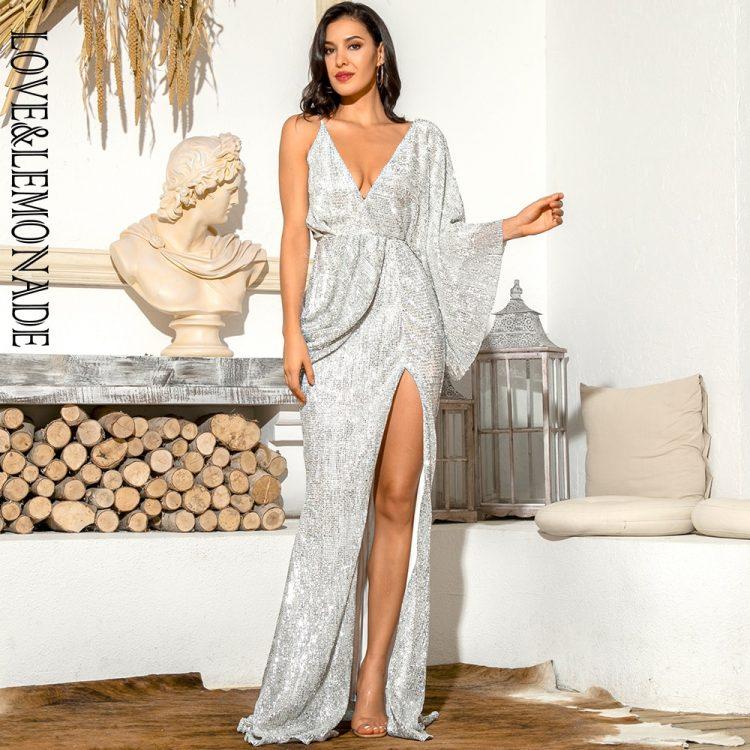 Asymetryczna sukienka wieczorowa srebrna z odkrytymi plecami