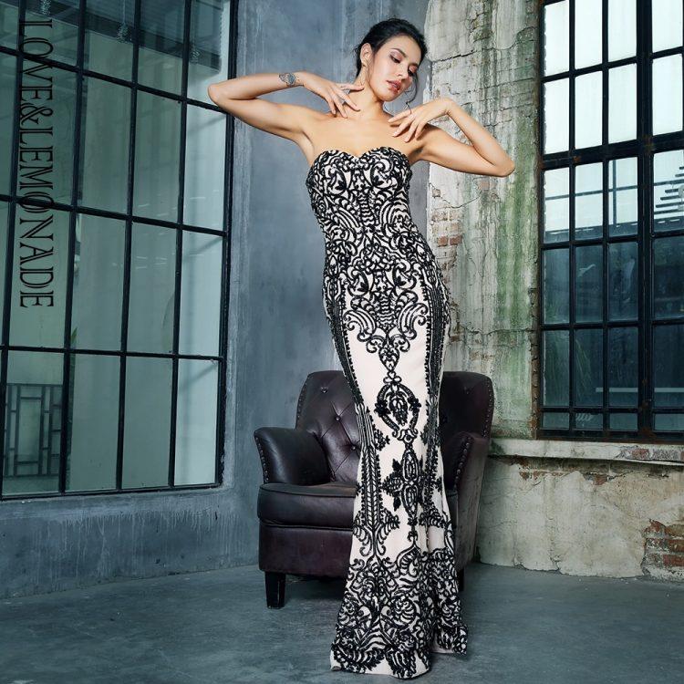 Biało czarna długa sukienka wieczorowa w geometryczne wzory 1