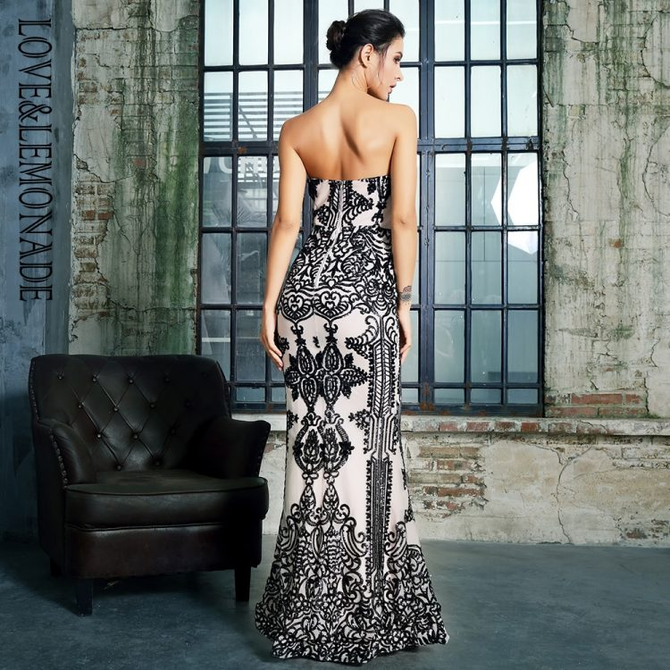 Biało czarna długa sukienka wieczorowa w geometryczne wzory 2