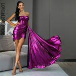 Błyszcząca fioletowa długa sukienka wieczorowa z dłuższym bokiem 1