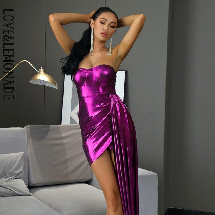 Błyszcząca fioletowa długa sukienka wieczorowa z dłuższym bokiem 2