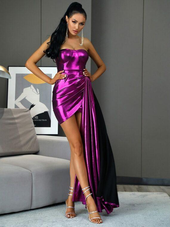 Błyszcząca fioletowa długa sukienka wieczorowa z dłuższym bokiem