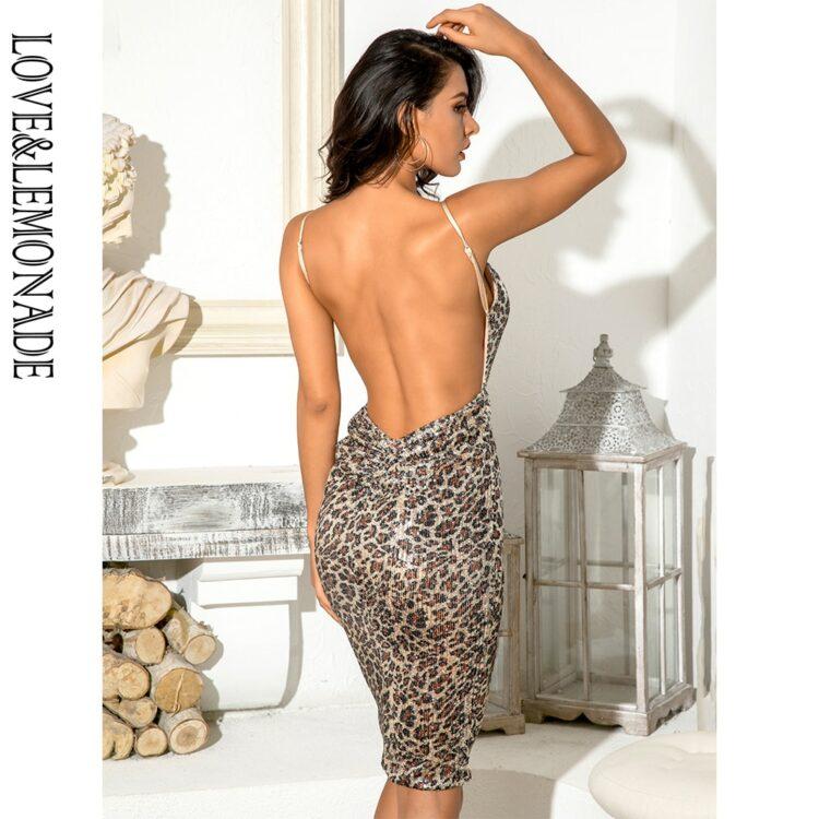 Bodycon beżowa sukienka panterka na ramiączkach midi 2