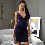 Bodycon fioletowa sukienka panterka na ramiączkach midi