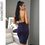 Bodycon fioletowa sukienka panterka na ramiączkach midi 2