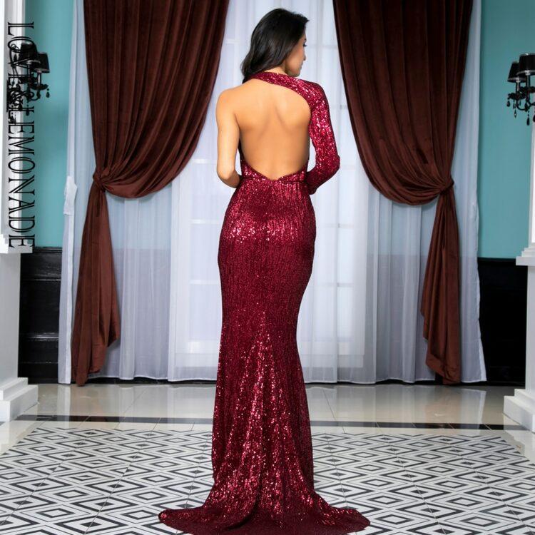 Bordowa długa sukienka wieczorowa z cekinami na jedno ramię 2