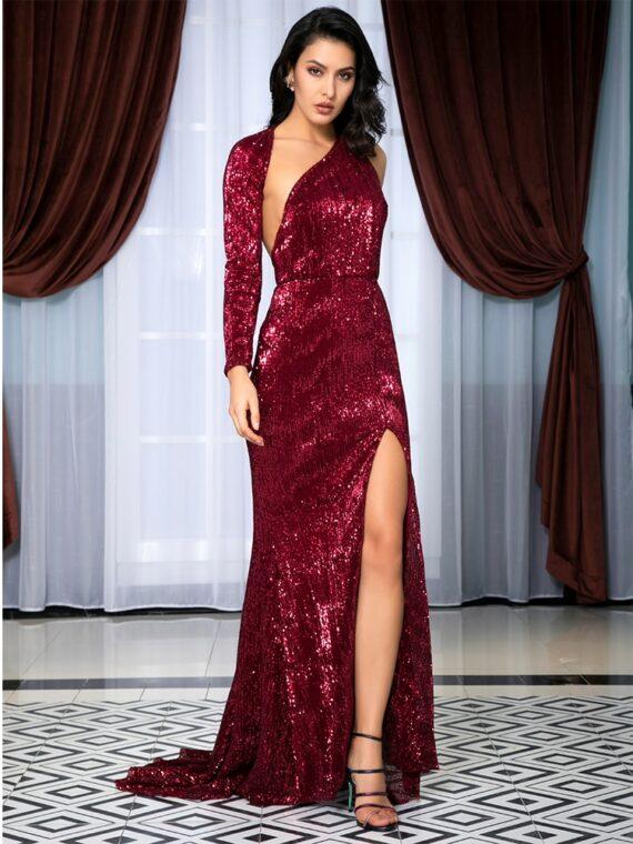 Bordowa długa sukienka wieczorowa z cekinami na jedno ramię