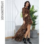 Brązowa panterka długa sukienka szyfonowa z dłuższym tyłem 1