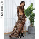 Brązowa panterka długa sukienka szyfonowa z dłuższym tyłem 2