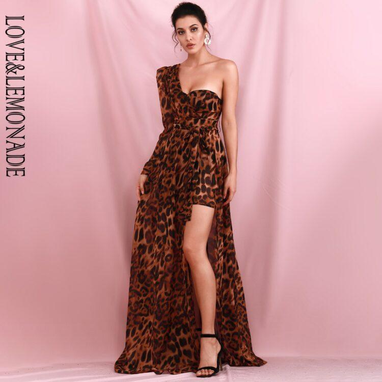 Brązowa sukienka maxi wieczorowa asymetryczna w panterkę 1
