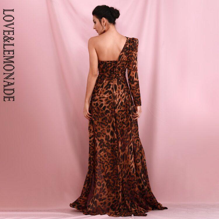 Brązowa sukienka maxi wieczorowa asymetryczna w panterkę 2