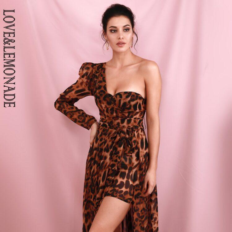 Brązowa sukienka maxi wieczorowa asymetryczna w panterkę