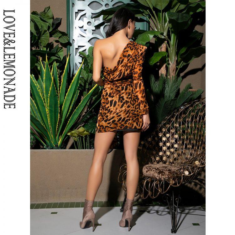Brązowa sukienka mini panterka na jedno ramię 2