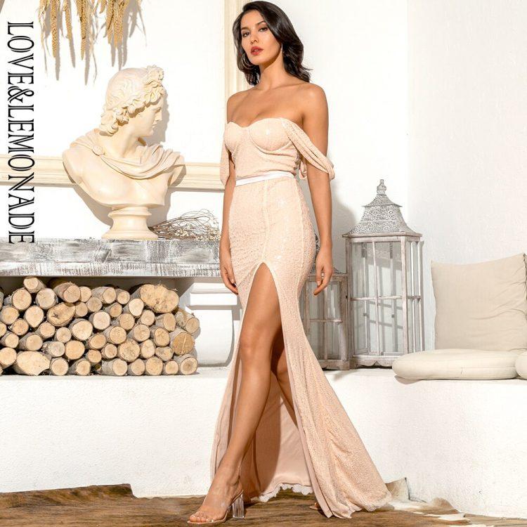 Brzoskwiniowa sukienka wieczorowa długa z opadającymi ramiączkami 1