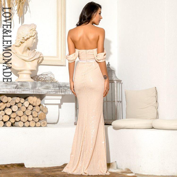 Brzoskwiniowa sukienka wieczorowa długa z opadającymi ramiączkami 2