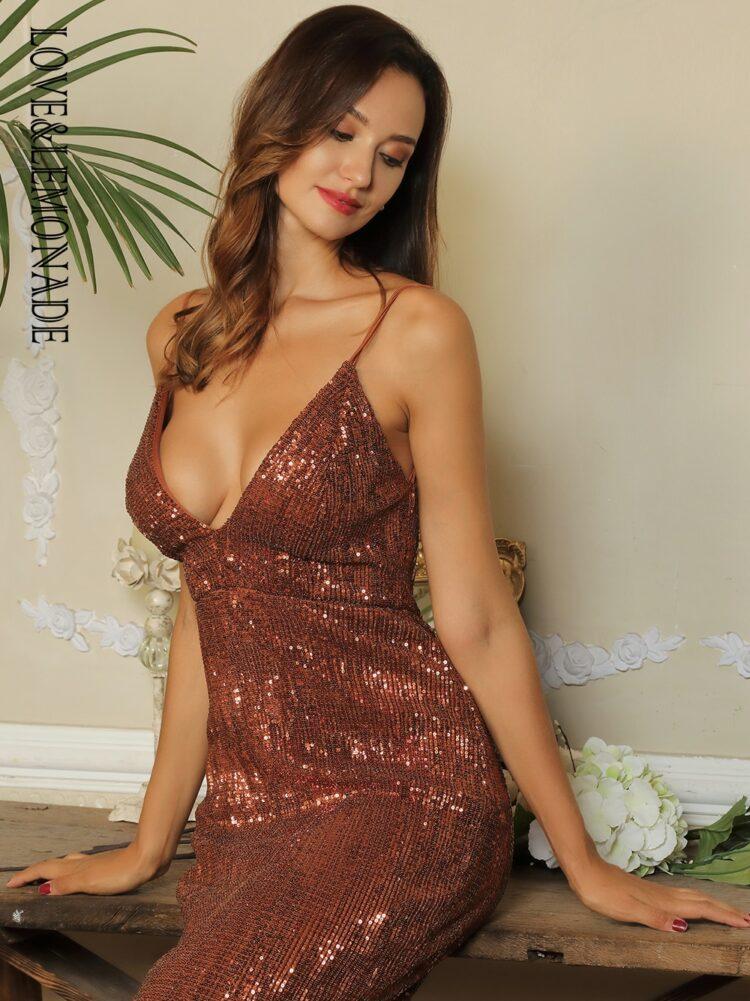 Cekinowa brązowa sukienka maxi wieczorowa bez pleców 1