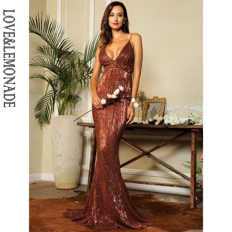 Cekinowa brązowa sukienka maxi wieczorowa bez pleców