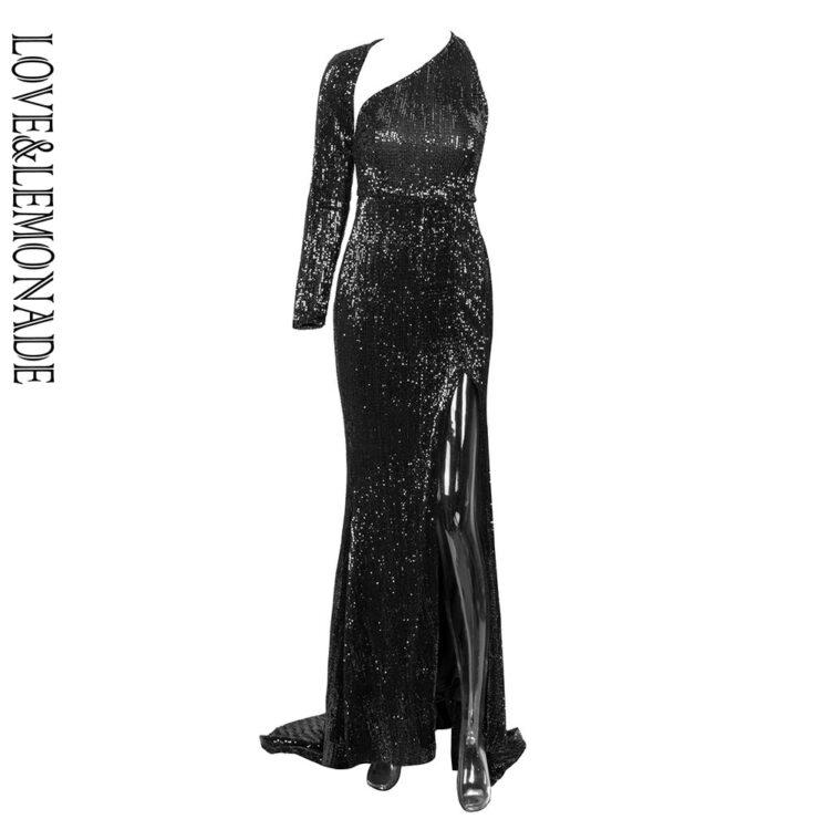 Cekinowa długa sukienka wieczorowa czarna z rozcięciem na nodze 1