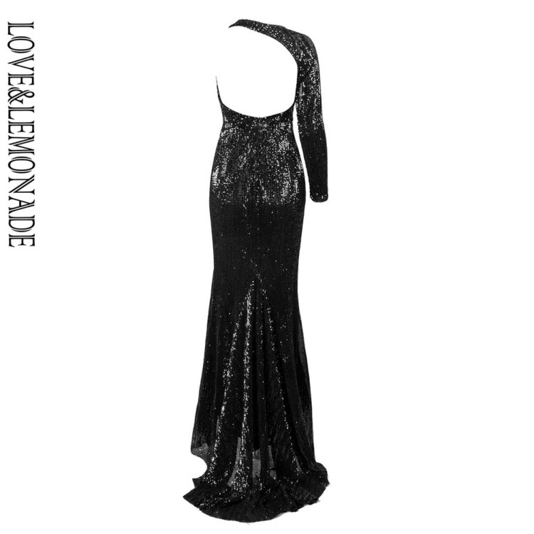 Cekinowa długa sukienka wieczorowa czarna z rozcięciem na nodze 2