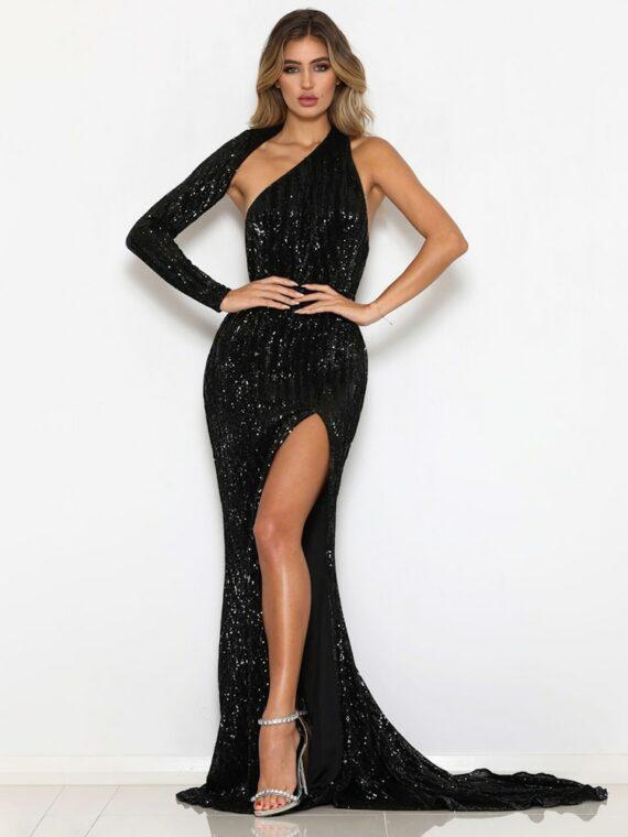Cekinowa długa sukienka wieczorowa czarna z rozcięciem na nodze