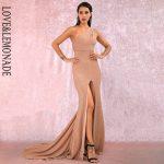 Cielista sukienka maxi wieczorowa na jedno ramię z rozcięciem 1