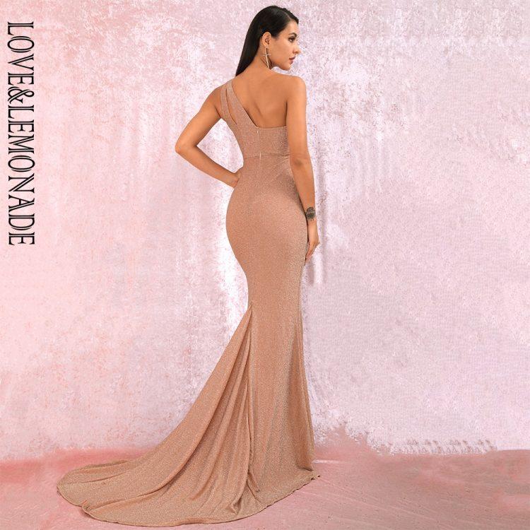 Cielista sukienka maxi wieczorowa na jedno ramię z rozcięciem 2