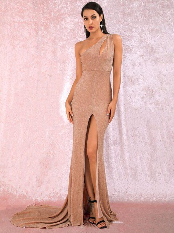 Cielista sukienka maxi wieczorowa na jedno ramię z rozcięciem