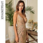 Cielista sukienka maxi wieczorowa z brokatowym haftem bez pleców 1