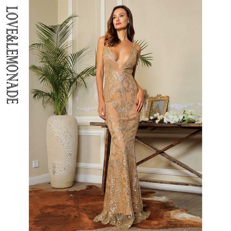 Cielista sukienka maxi wieczorowa z brokatowym haftem bez pleców