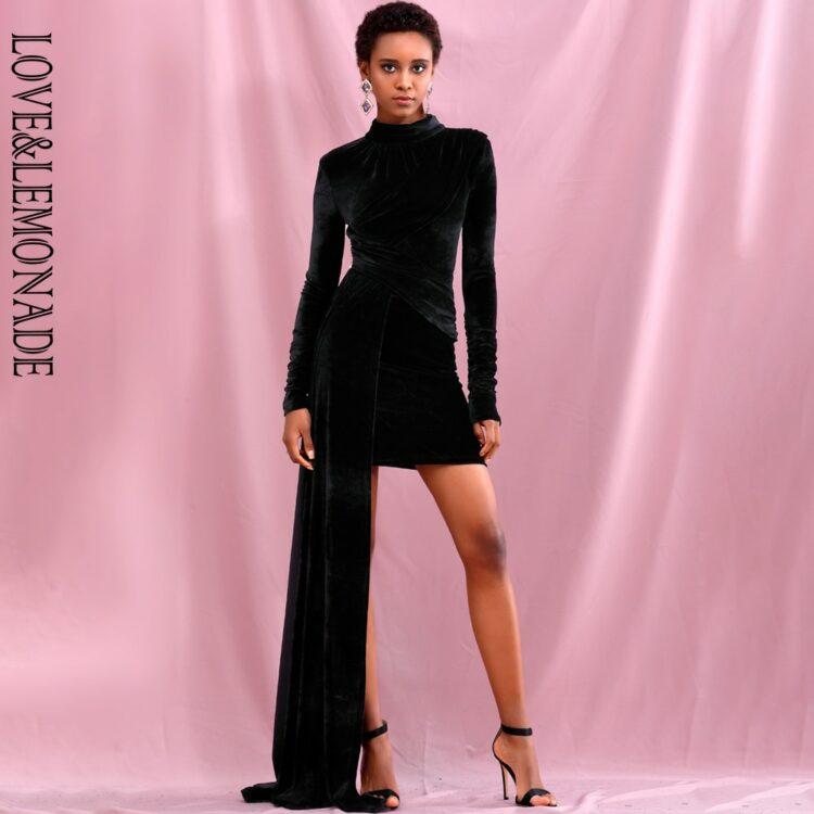 Czarna aksamitna sukienka z golfem i dłuższym bokiem 1
