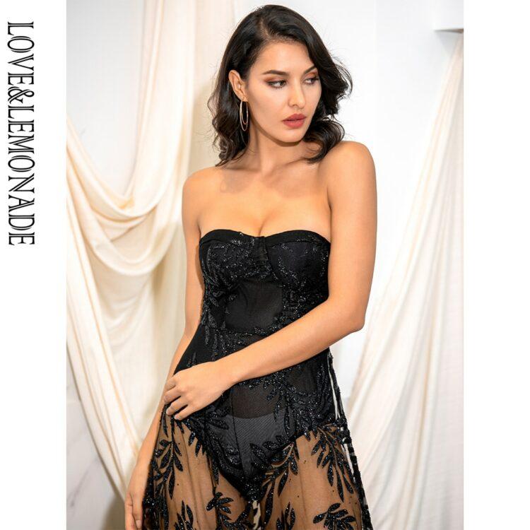 Czarna długa sukienka wieczorowa koronka z odkrytymi ramionami 1