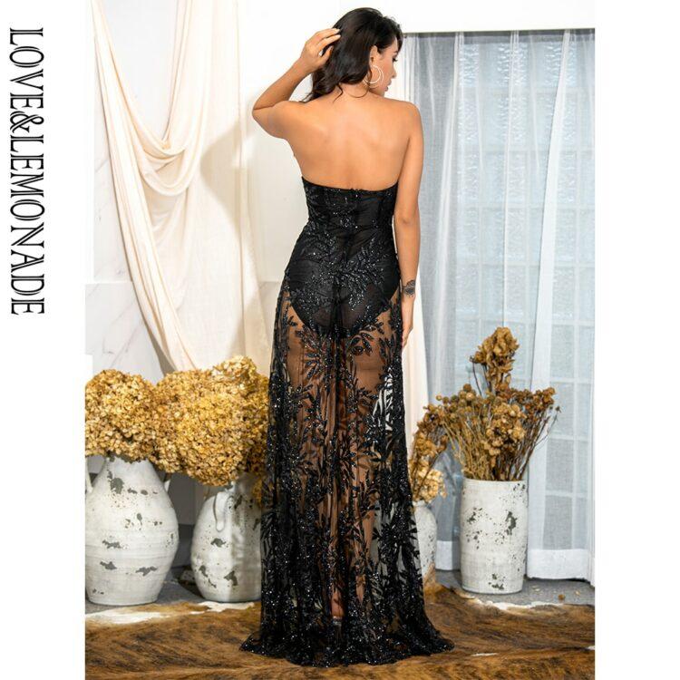 Czarna długa sukienka wieczorowa koronka z odkrytymi ramionami 2