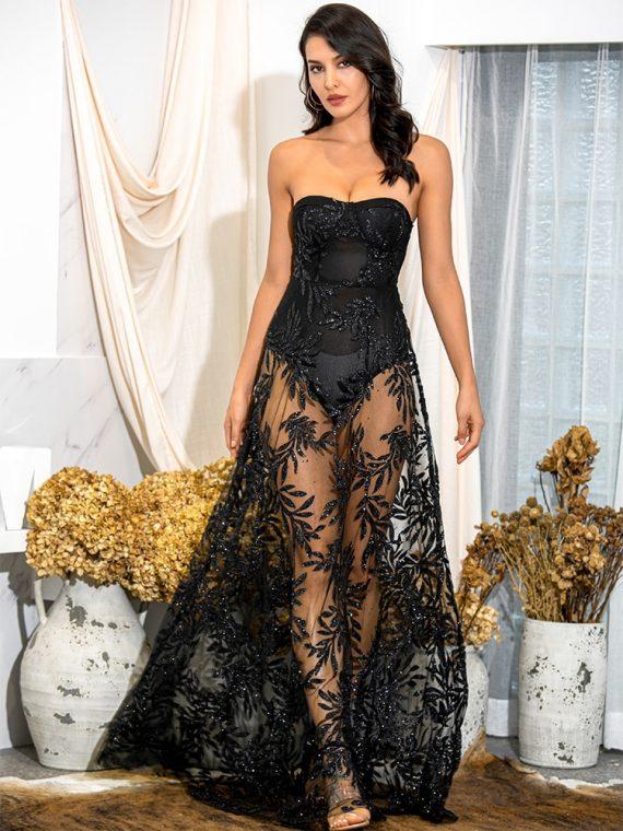 Czarna długa sukienka wieczorowa koronka z odkrytymi ramionami